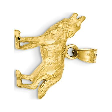 14k Yellow Gold Diamond-cut Wolf (18x18mm) Pendant / Charm - Wolf Pendant