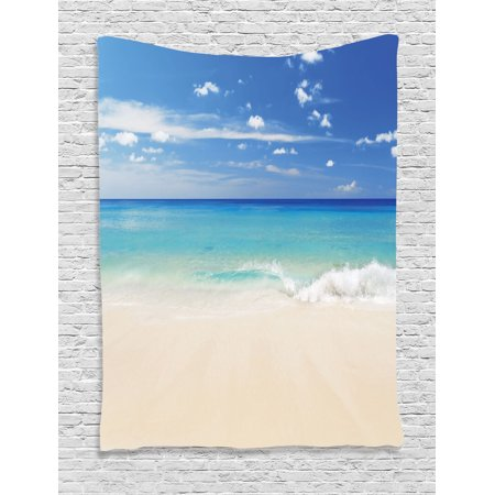 Ocean Decor Wall Hanging Tapestry, Tropical Haven Style Sandy Shore And Sea With Waves Escape To Paradise Theme, Bedroom Living Room Dorm Accessories, By Ambesonne](Ocean Themed Classroom)