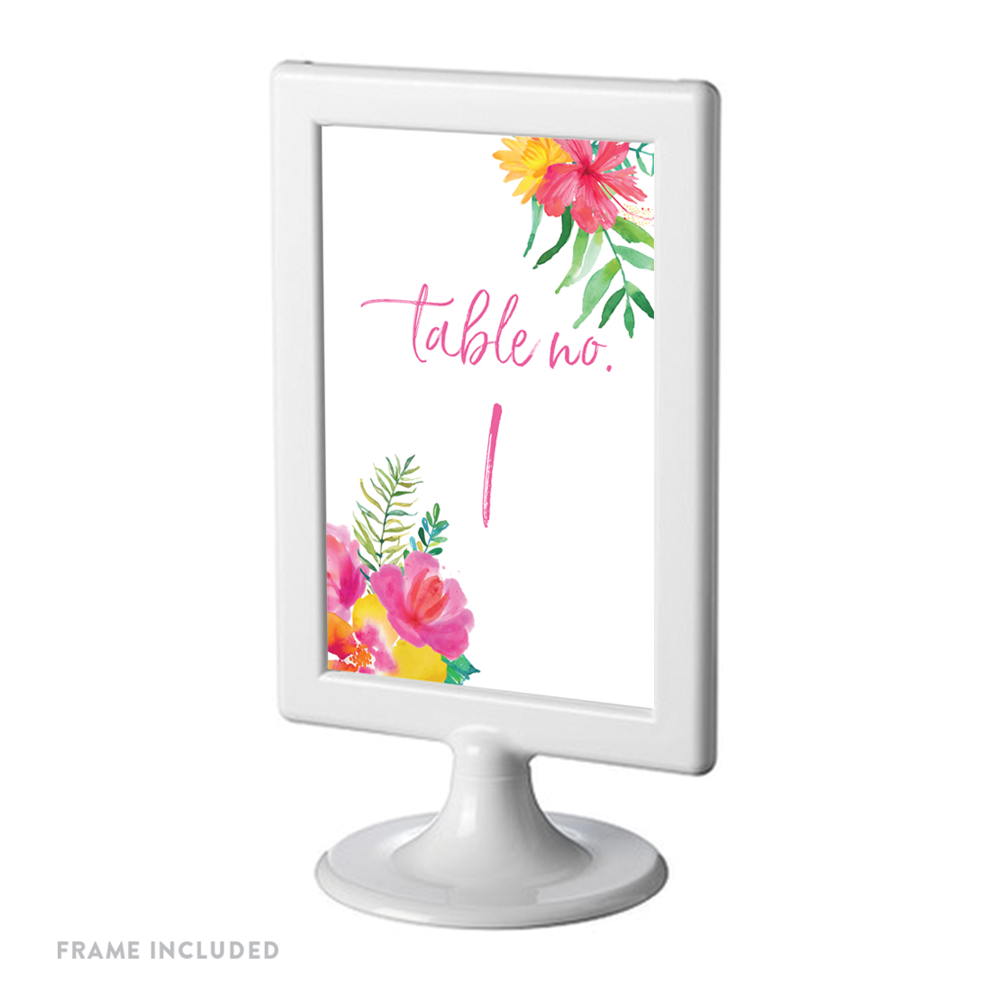 Tropical Floral Garden Party Wedding, Table Numbers 1 - 8 on Perforated Paper, 4 x 6-inch Includes Frames