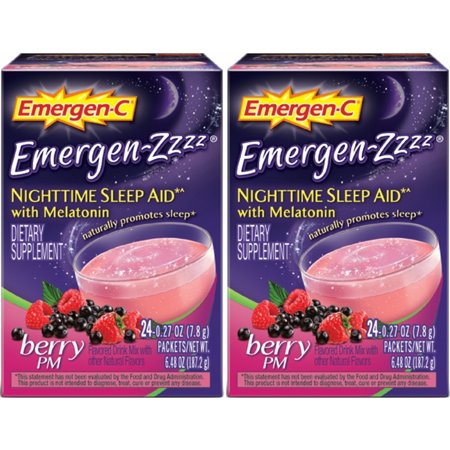 2 Pack Emergen-C Emergen-Zzzz Nighttime Sleep Aid w/ Melatonin, 24 Packets