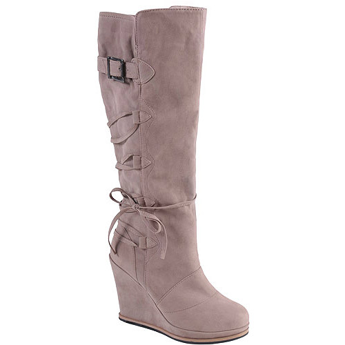 Brinley Co Women's Round Toe Lace-Up Detail Wedge Boots