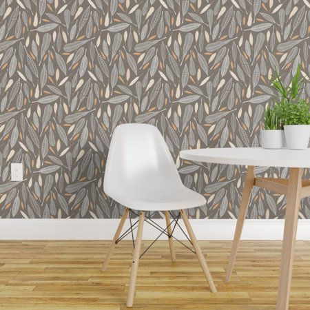 Peel and Stick Removable Wallpaper Feathers Tribal Autumn Plumes Taupe