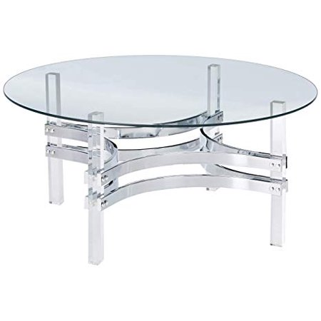 Coaster Round Glass Top Coffee Table in Chrome ()