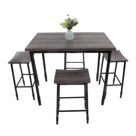 Karmas Product 5 Piece Bar Kitchen Table Set And Chairs For 4 Counter Height Dining With Backless Stools Sy Durable Furniture Black