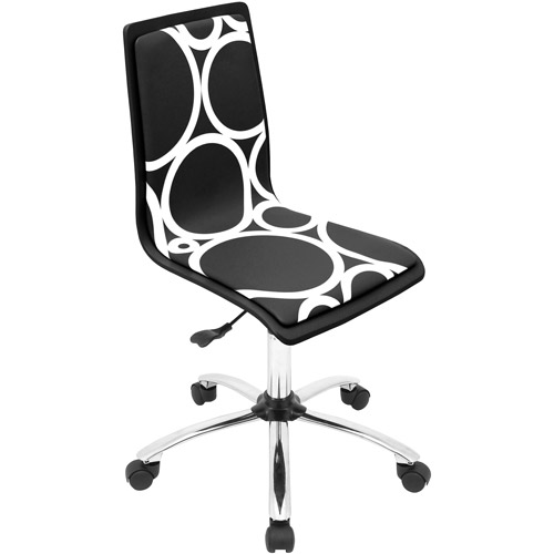 LumiSource Printed Circles Computer Chair - Black