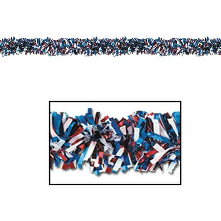 50281-RWB 6-Ply Flame Resistant Red, White and Blue Metallic Festooning Garland, 4