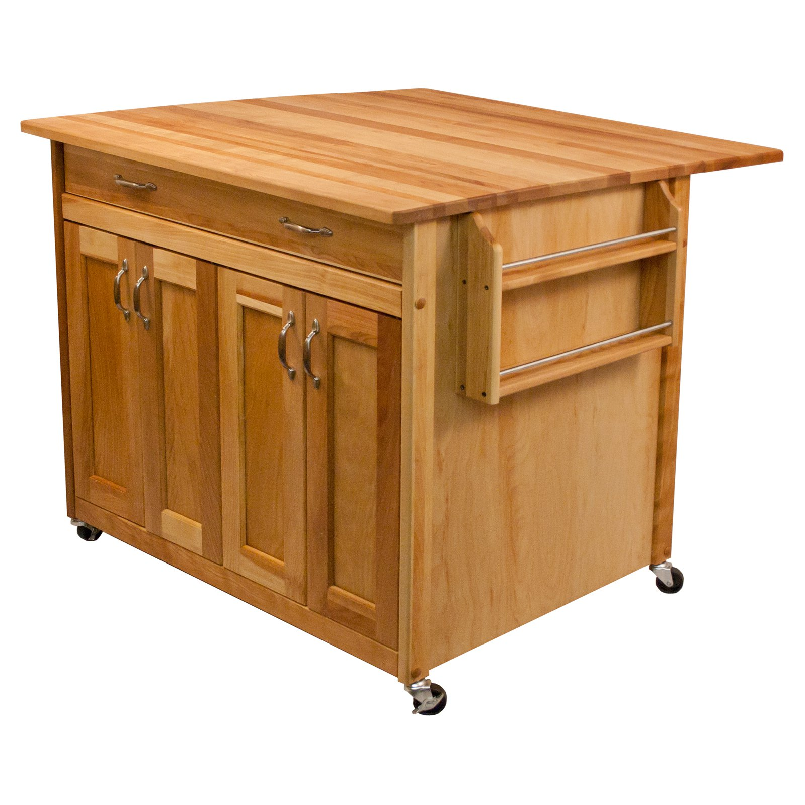 Catskill Craftsmen Deep Kitchen Island with Flat Panel Doors and Drop Leaf