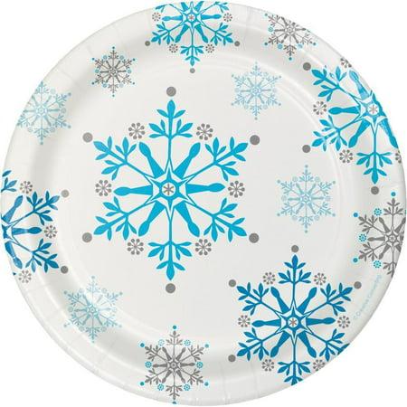 Snowflake Swirls Dessert Plate, 8 ct - Snowflake Plate