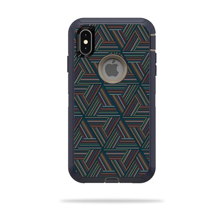 Skin for OtterBox Defender iPhone XS Max - Triangle Stripes | Protective, Durable, and Unique Vinyl Decal wrap cover | Easy To Apply, Remove, and Change - Max Triangle