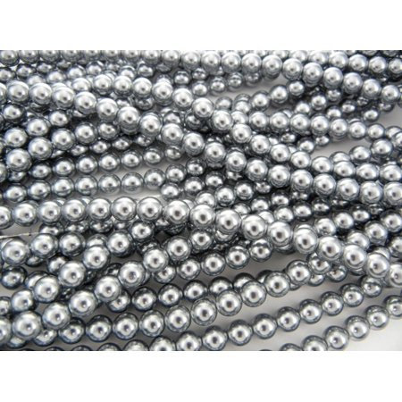 UnCommon Artistry Glass Pearl Beads 200pcs 6mm - (Silver Foil Round Glass Beads)