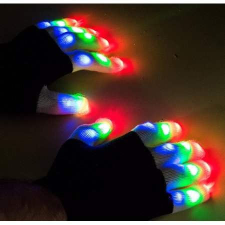 LED Colorful Flashing Finger Lighting Gloves By, Soft black and white fabric with white light up fingers. By Science Purchase
