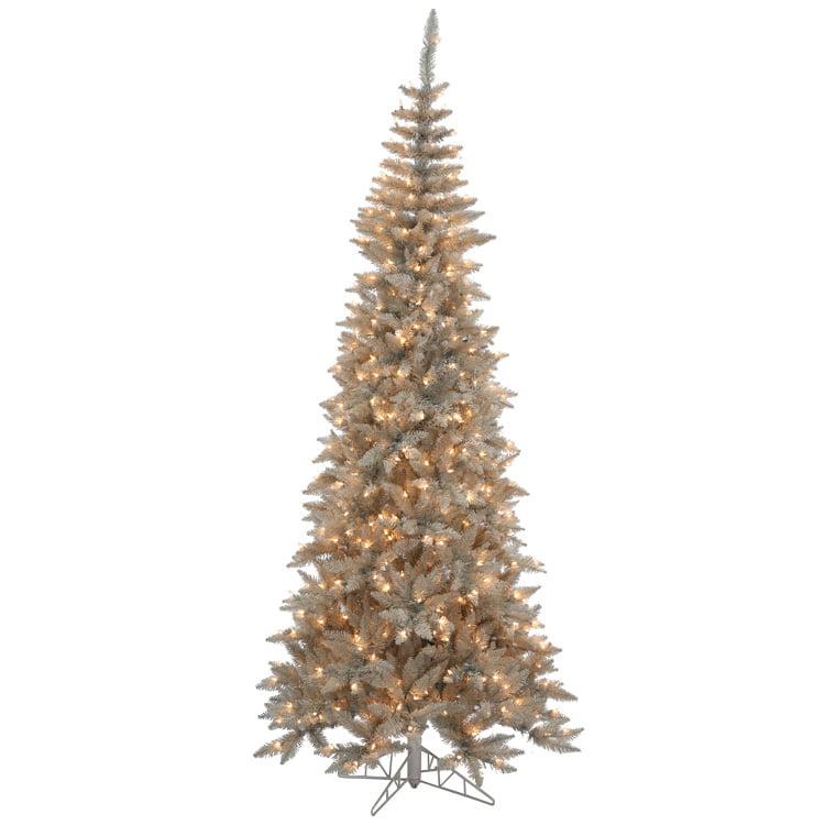 9' Slim Grey Fir Artificial Christmas Tree - Clear Lights