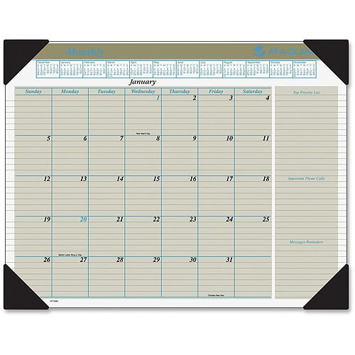 13-Month CA177227-20 July 2019 to July 2020 22 x 17 inches Blueline DuraGlobe Monthly Desk Pad Academic