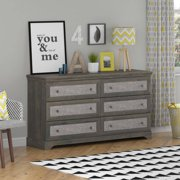 Ameriwood Home Stone River 6 Drawer Dresser with Fabric Inserts, Weathered Oak
