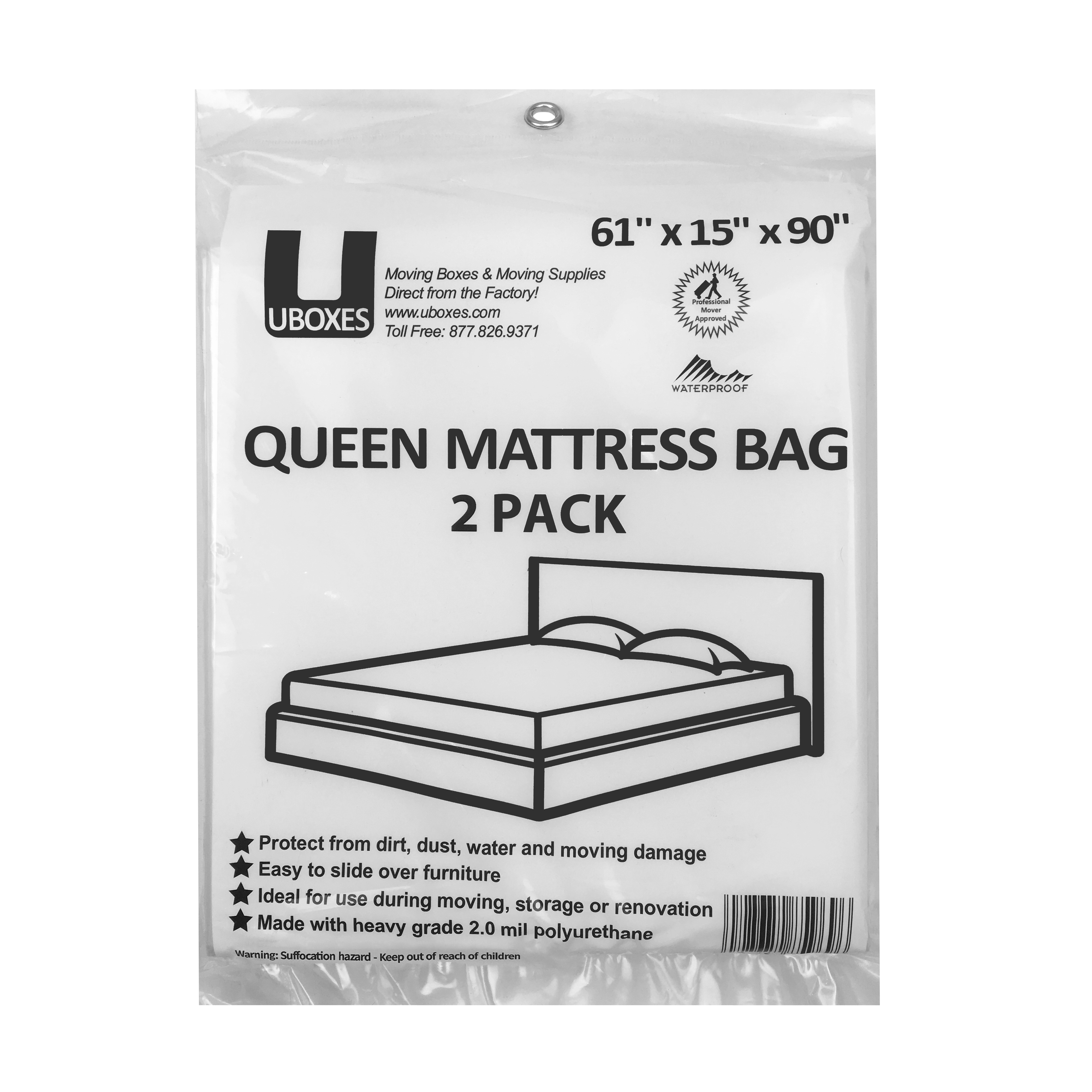 Uboxes Queen Mattress Poly Covers, 61 x 15 x 90 in, 2 Pack