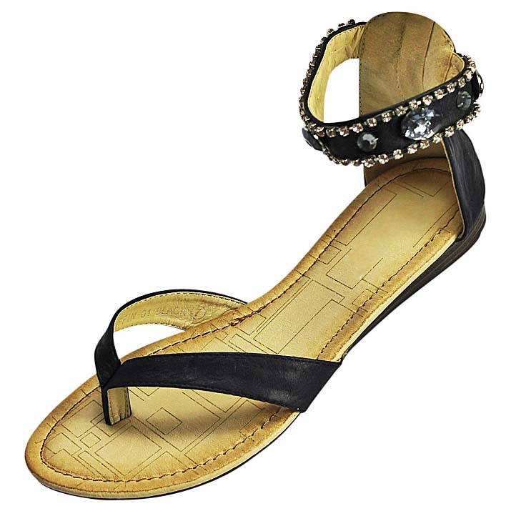 Luxury Divas Black Flat Thong Sandals With Rhinestone Jewel Ankle Strap
