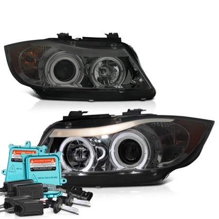 [For 2006-2008 BMW E90 E91 3-Series Halogen Model] LED Halo Ring Chrome Smoke Projector Headlight Headlamp Assembly, Driver & Passenger Side Bmw 525i Headlight Assembly