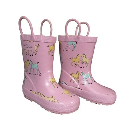 Pink Pony Toddler Girls Rain Boots 5-10 - Girls Pink Patent Boots