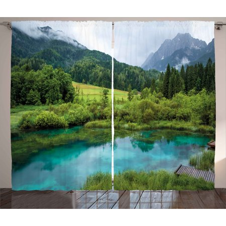 Landscape Curtains 2 Panels Set, Photo of Zelenci Pond near Kranjska Gora in Slovenia Idyllic View Scenic Scenery, Window Drapes for Living Room Bedroom, 108W X 108L Inches, Green Aqua, by Ambesonne ()