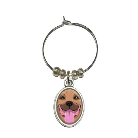 Pit Bull Fawn - American Staffordshire Terrier Dog Oval Wine Glass (American Staffordshire Pit Bull)