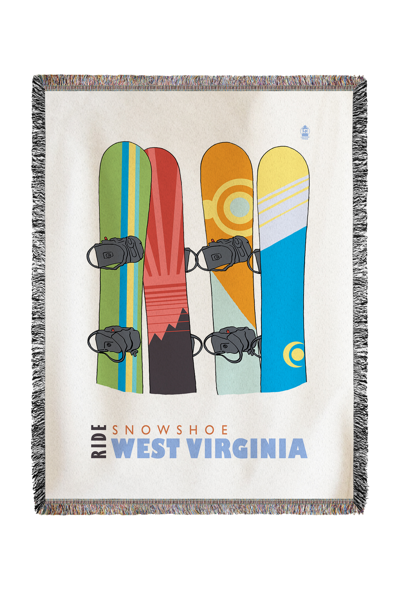 Snowshoe, West Virginia Snowboards in Snow Lantern Press Poster (60x80 Woven Chenille Yarn Blanket) by Lantern Press