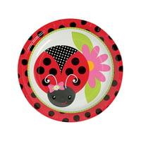 Fun Express - Little Ladybug Dessert Plates for Birthday - Party Supplies - Print Tableware - Print Plates & Bowls - Birthday - 8 Pieces