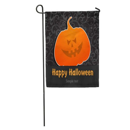 KDAGR Orange Autumn Happy Halloween Greeting Black Cartoon Celebrate Color Haunted Garden Flag Decorative Flag House Banner 12x18 inch