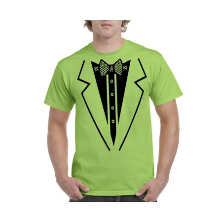 3e8530fed853e IWPF - Black Bow Tie Suit Tuxedo Costume Men's Short Sleeve T-Shirt -  Walmart.com