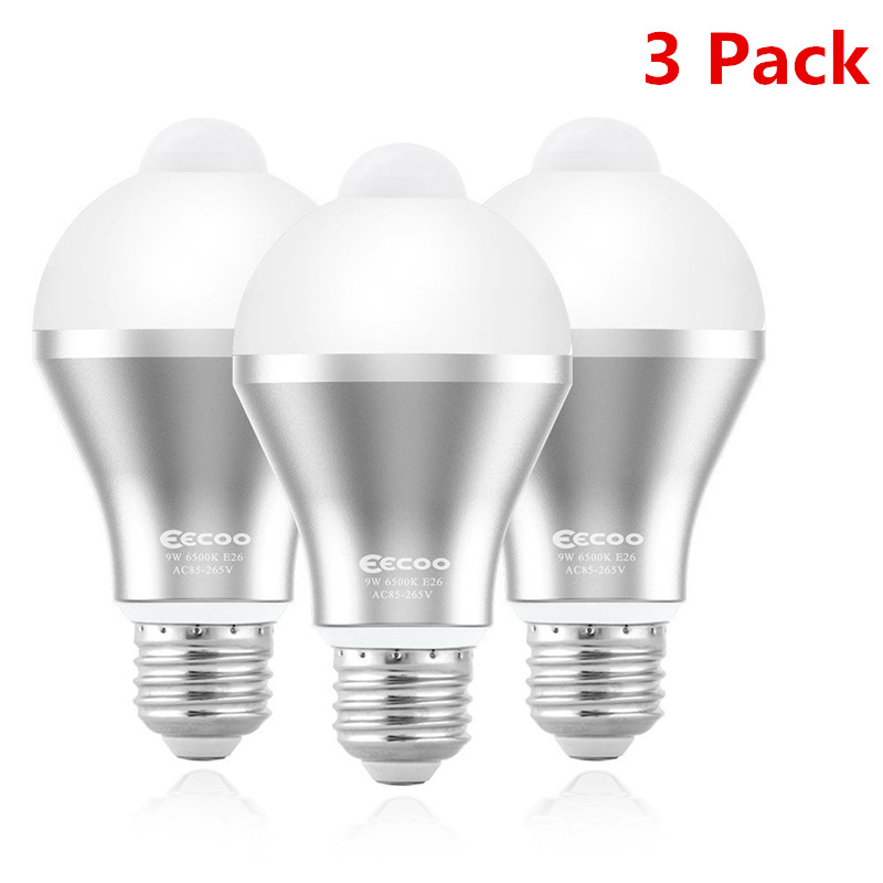 3 Pack 9W Motion Activated LED Bulb   Motion Sensor Light Bulb E26/E27 Cold