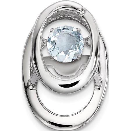 Aquamarine Jewelry - Leslies Fine Jewelry Designer 925 Sterling Silver Rhodium Aquamarine Birthstone Vibrant (9.6x14.5mm) Pendant Gift Box Included