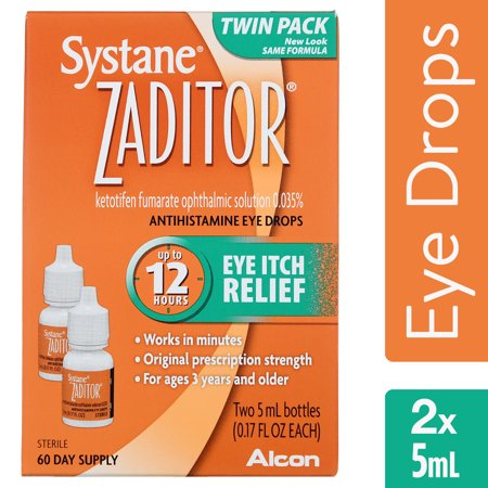 (2 pack) Zaditor Antihistamine Eye Drops, OTC Allergy Symptom Relief, 2 x 5 mL
