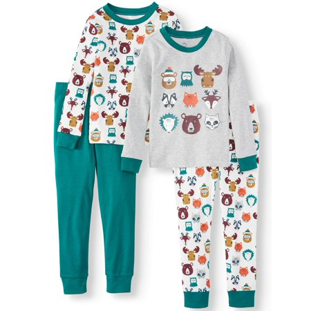 Wonder Nation Toddler Boy Long Sleeve Cotton Snug Fit Pajamas, 4Pc Set