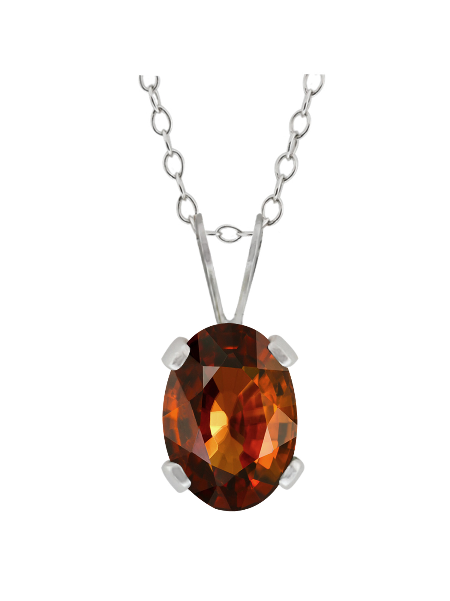 1.25 Ct Oval Brown Zircon Brass Silver Plated Brass Pendant With Chain