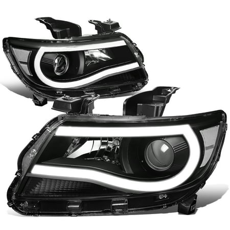 For 2015 to 2019 Chevy Colorado Pair Front Driving 3D LED DRL Tube Bar Projector Headlight Headlamps Black / Clear 16 17 18 ()