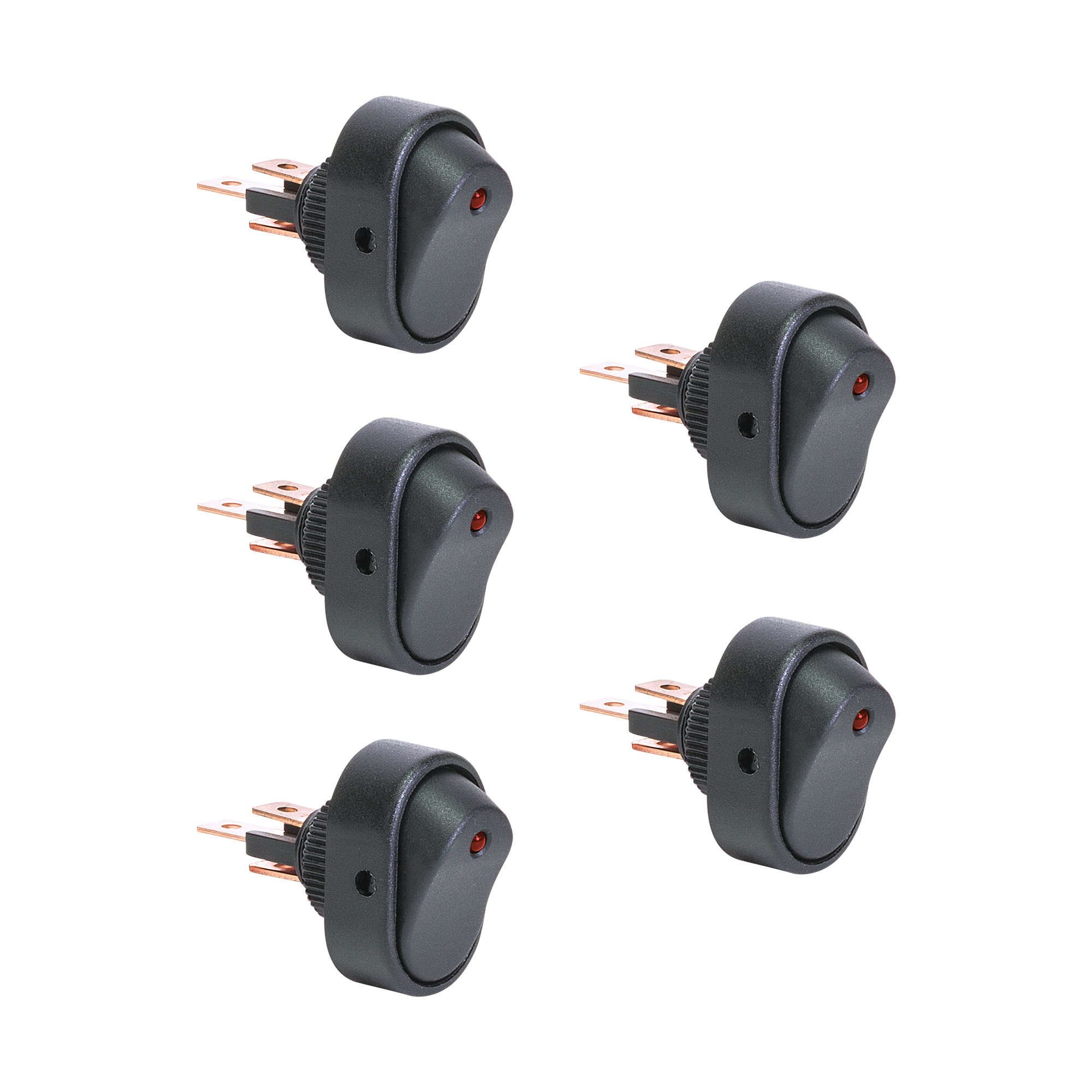 OLS 12V DC 30A 3-Pin SPST LED On/Off Rocker Switch - Red - Pack of 5