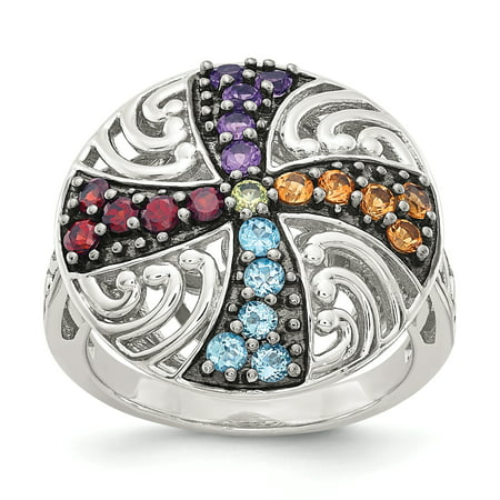 925 Sterling Silver Black Multi Gemstone Band Ring Size 6.00 Stone Fine Jewelry Gifts For Women For Her - image 10 of 10