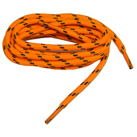 60 Inch Pack - (2 pair pack) 60 Inch 152 cm Orange with Black proTOUGH reinforced with Dupont Kevlar Round 6mm diameter Heavy Duty Boot Shoelaces