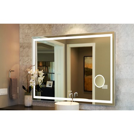 innoci-USA  Eros LED Wall Mount Lighted Vanity Mirror Featuring Built-In LED Cosmetic Mirror, Digital Display Clock, IR Sensor