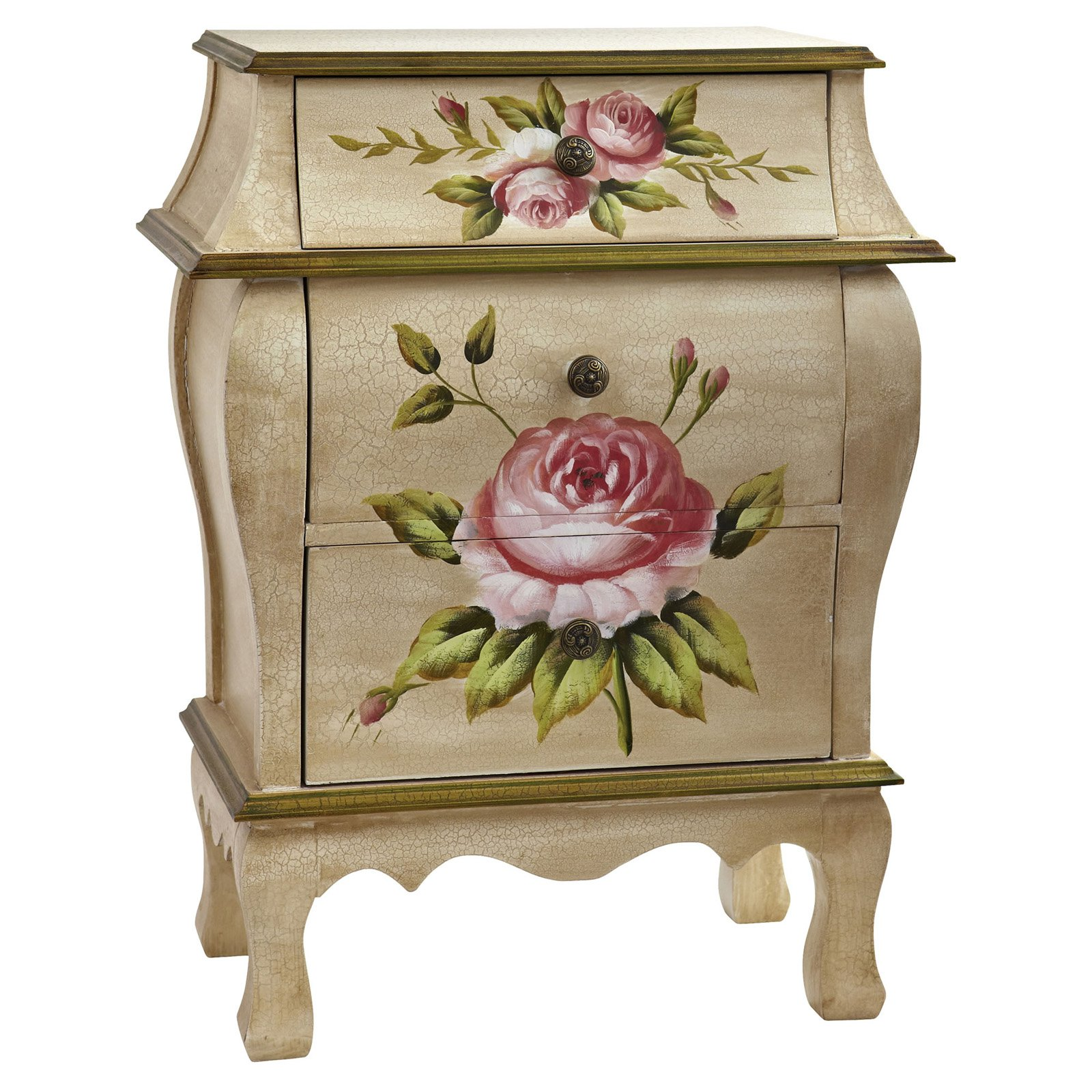 Nearly Natural Antique Floral Art 3 Drawer Plant Stand