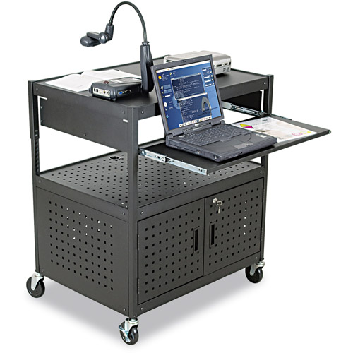 Balt Height-Adjustable Fdb Av Cart, Steel, Black