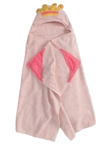 Peanut & Ollie Hooded Princess Bath Towel Child Size Pink 100% Cotton by