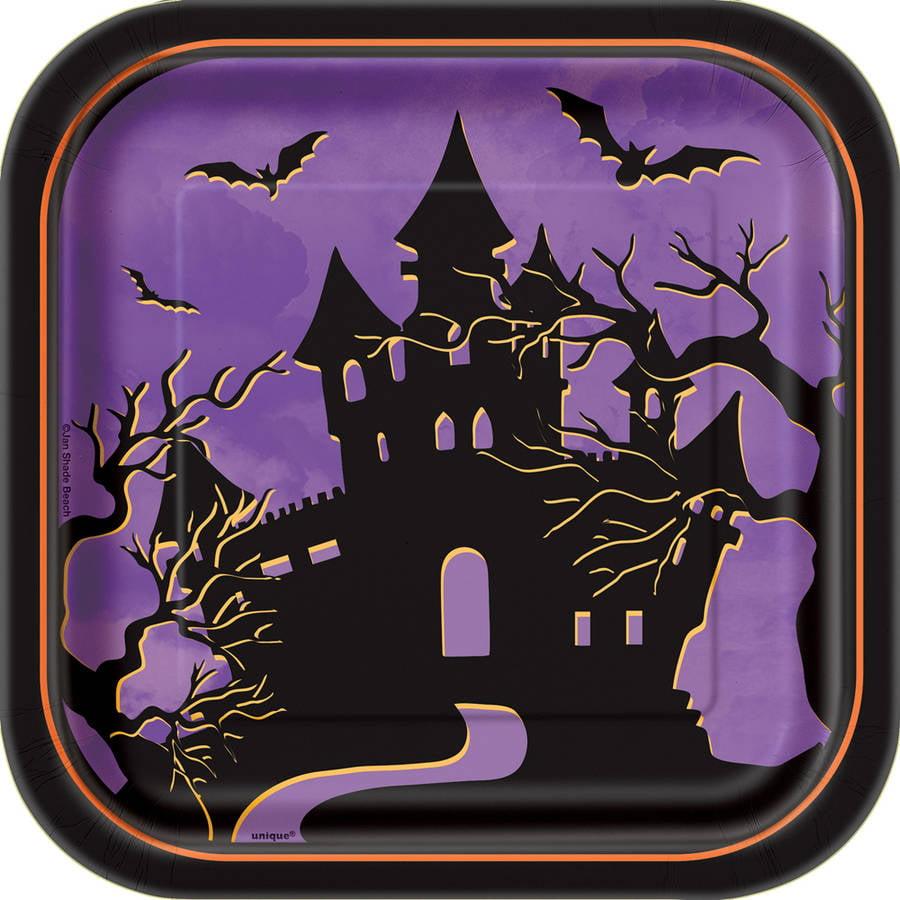 "7"" Halloween Haunted House Square Paper Dessert Plates, 10ct"
