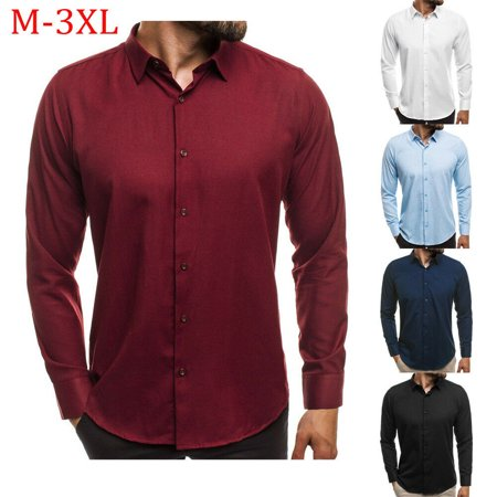Mens Slim Fit Business Shirt Long Sleeve Fashion Dress Shirts Casual Male Solid Color Shirts Tops Clothes White Size L Dress Shirt Sizes