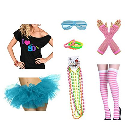 80's Outfits For Halloween (80s Outfit Costume Accessories Set I Love 80's T-Shirt Tutu Skirt Stockings Fishnet Gloves Glasses Bracelet and Necklaces)