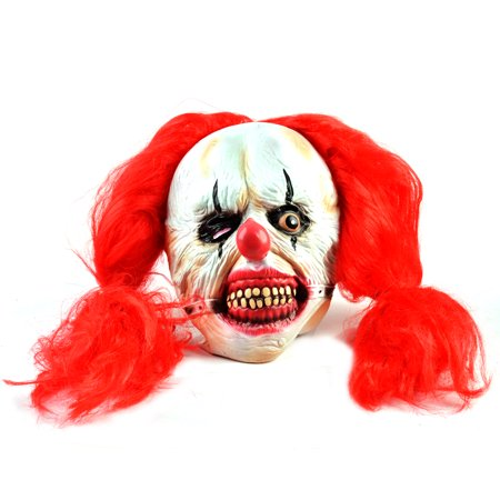 Scary Clown Mask Latex Red Hair Halloween Horror Fancy Dress New - Latex Clown
