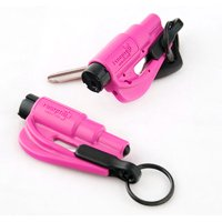 Resqme Pack of 2, The Original Emergency Keychain Car Escape Tool, 2-in-1 Seatbelt Cutter and Window Breaker, Pink