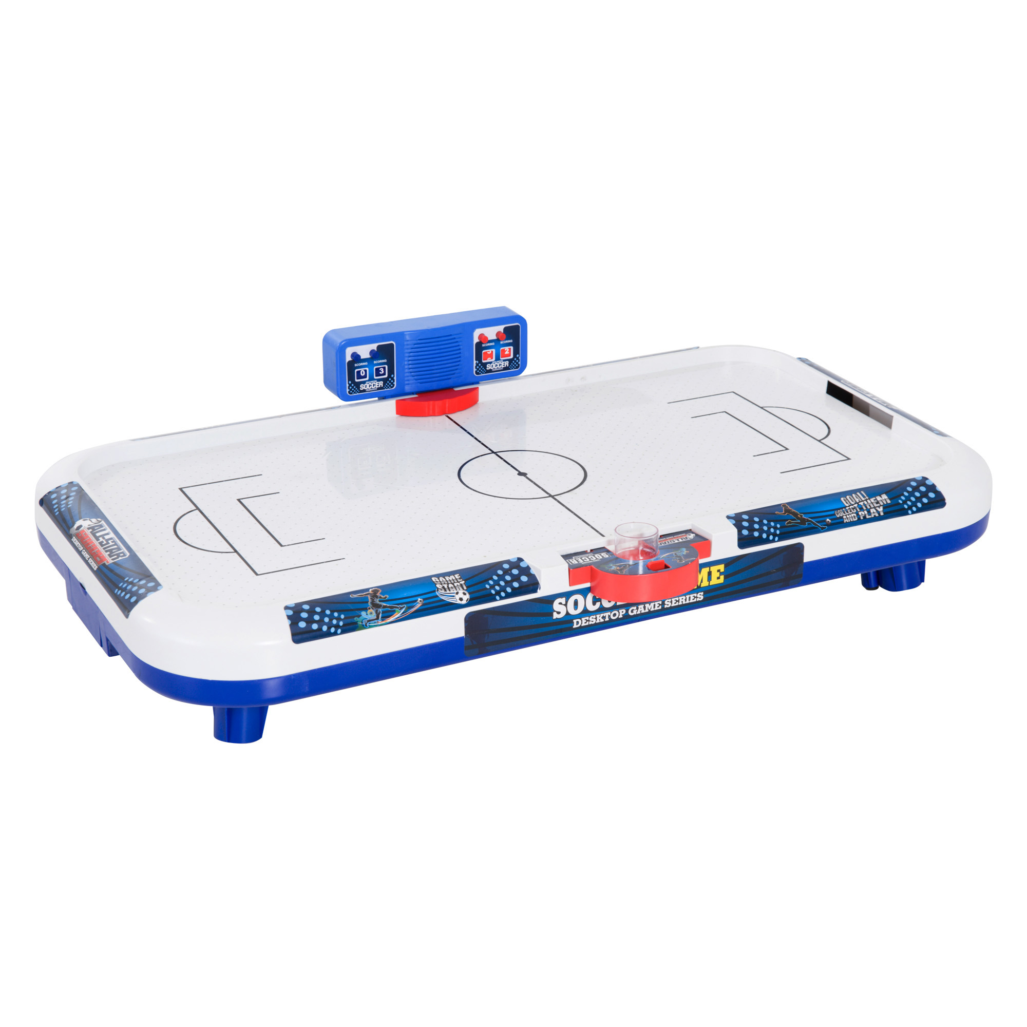 "Soozier 40"" Mini Soccer Themed Air Hockey Tabletop Game for Kids - White/Blue"