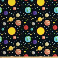 Space Fabric by The Yard, Comets and Constellations Stars with Polka Dots Earth Sun Saturn Mars Solar System, Decorative Fabric for Upholstery and Home Accents, by Ambesonne