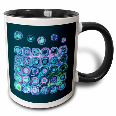 3dRose Abstract sci fi suns and planets in blue purple pink on teal blue background - Two Tone Black Mug, 11-ounce - Teal And Purple