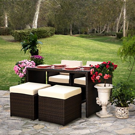 Cyd 5 Piece Resin Wicker Patio Dining Set Brown
